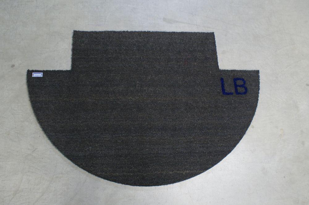 Zerbino per appartamento in cocco grigio personalizzato con scritto blu