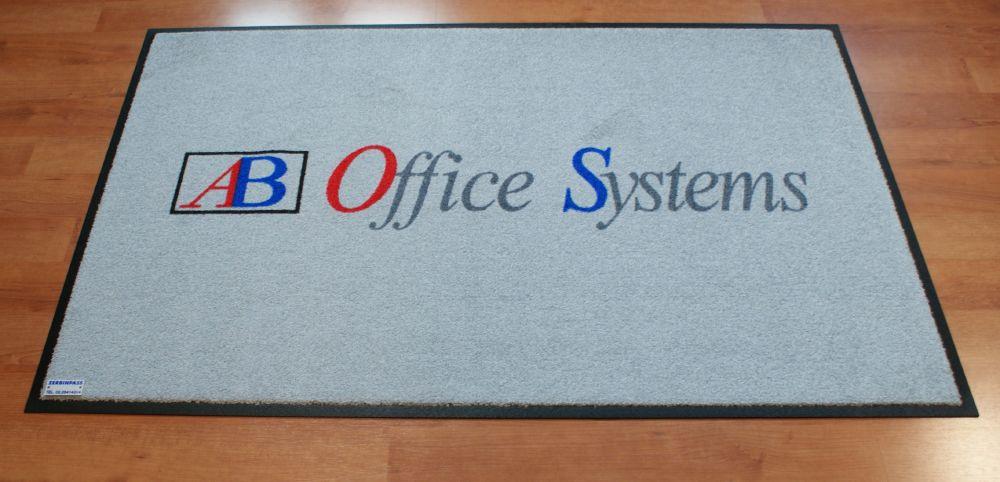 tappeto art. asciugapass p.e. colroe grigio chiaro personalizzato a stampa ab office system a 4 colori