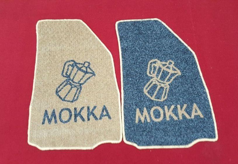 tappeto personalizzato ad intarsio con caffetteria + mokka e negativo bordati con filato su tutti i lati (1)