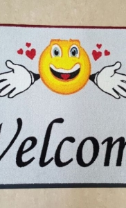 tappeto asciugapass personalizzato a stampa con smile e welcome