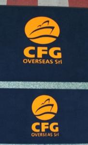 zerbini sintetici articolo 350 colroe blu oceano personalizzati ad intarsio cfg overseas srl colore arancione